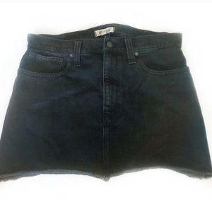 Madewell Raw Hem Black Denim Jean Mini Skirt Sz 31